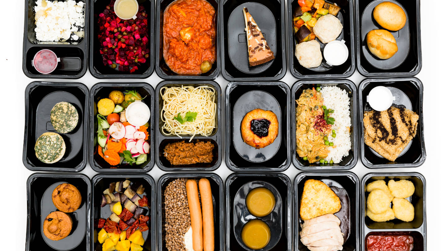 Food In Containers On A Dark Background. Food Delivery. Healthy