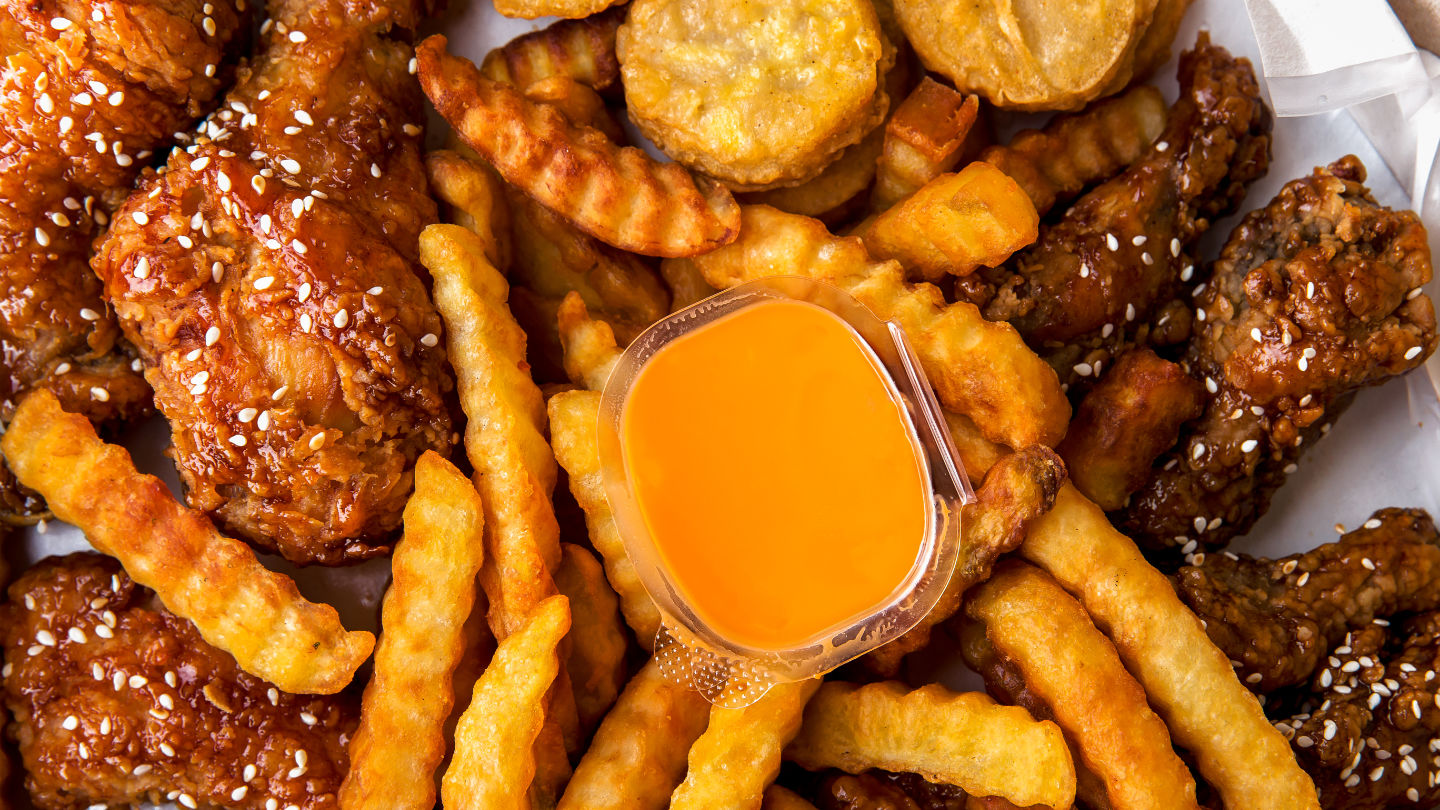 Fried Chicken Crispy Food From Chicken And French Fries Or Chips
