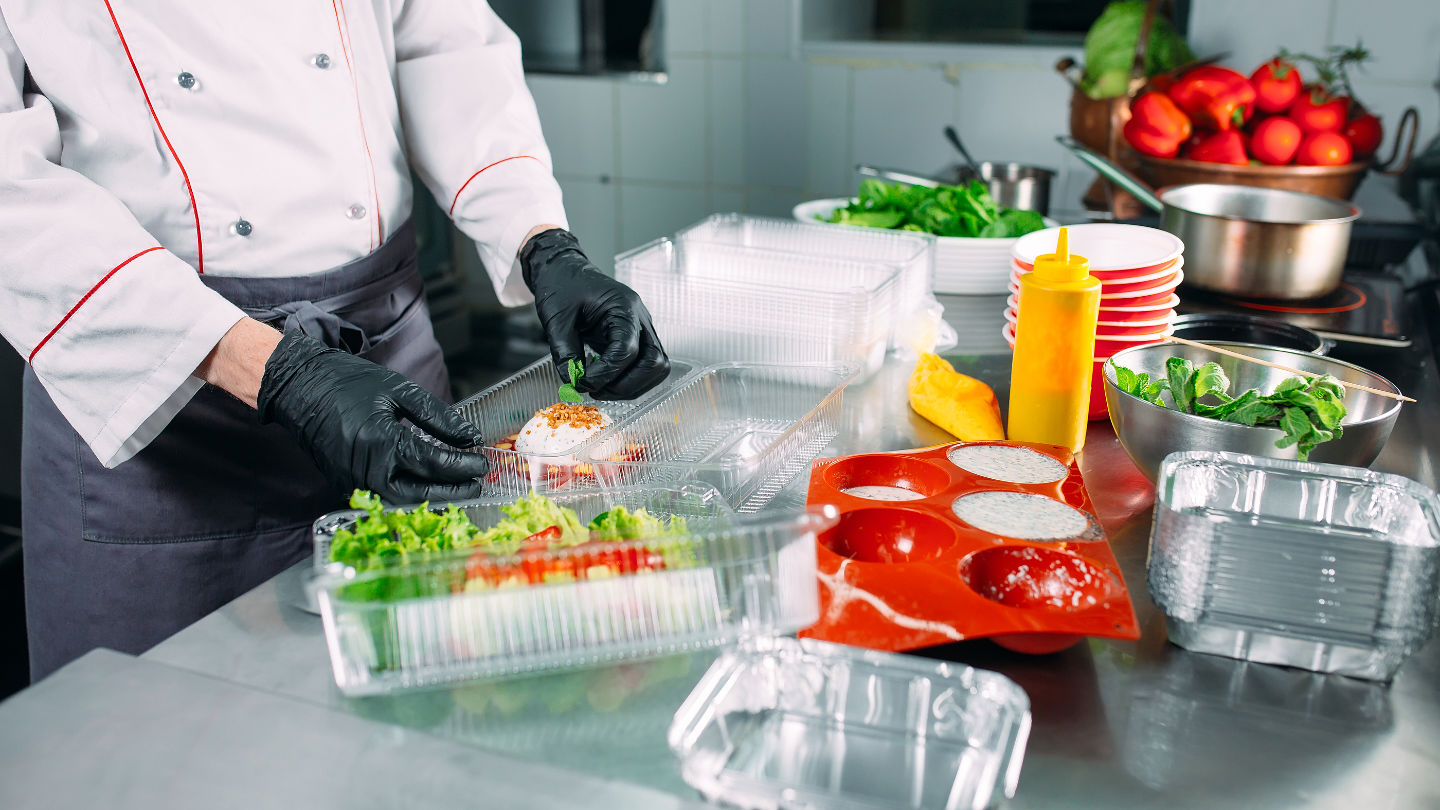 Food Delivery In The Restaurant. The Chef Prepares Food In The R